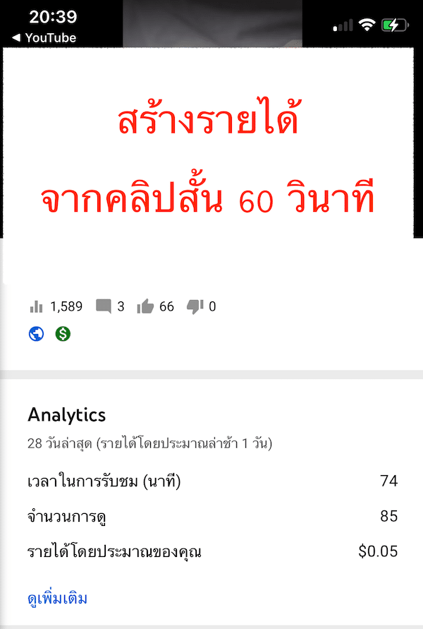 youtube shorts ทำเงิน